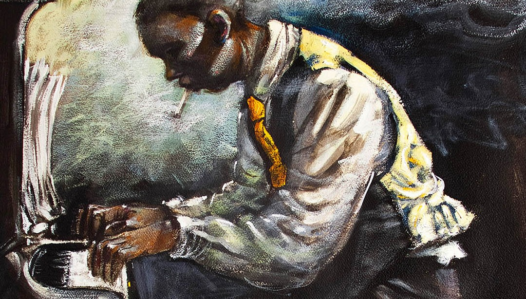 Ilustración de músico de Jazz tocando el piano