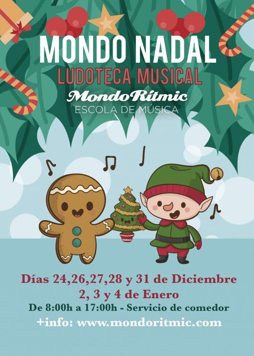 CARTEL MONDO NADAL LUDOTECA MUSICAL DE MONDO RÍTMIC EN CASTELLÓN